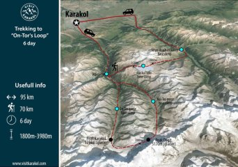 Map of Trekking tour in Karakol