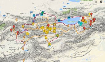 Maps of Kyrgyzstan and cycling routes