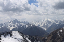 Panoramic view to Peak Karakol and Jigit