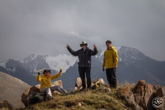 Climbing on tops of the Kyrgyz mountains
