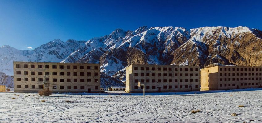 Abandoned flats at Inylchek town, located 150 km from Karakol on elevation 2500 meters.