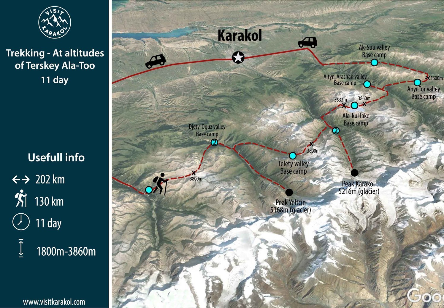 Map of Trekking tour in Kyrgyzstan 11 days