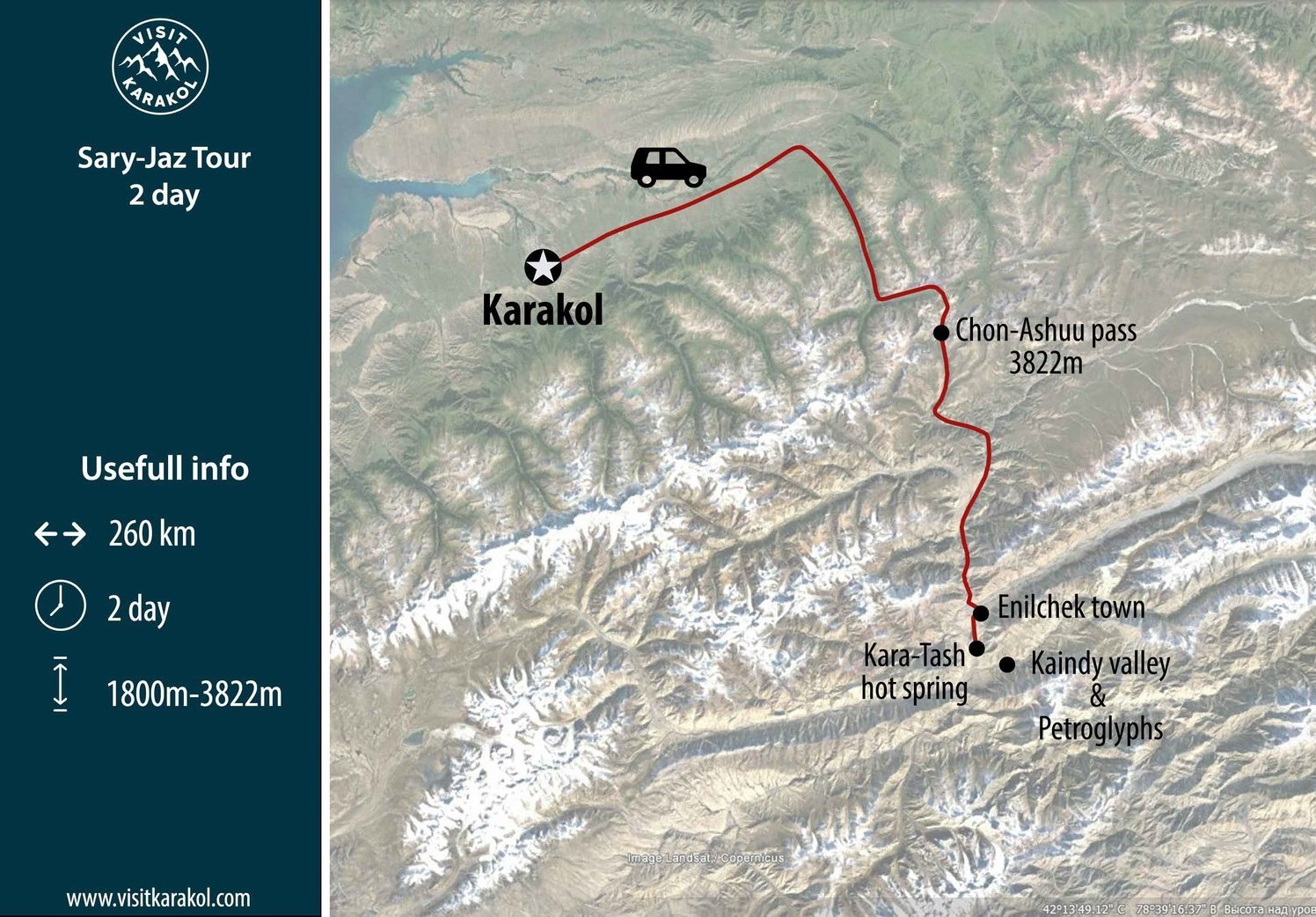 Route of Sary-Jaz day trip